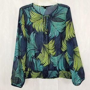 H&M Sz 14 Blouse Top Semi Sheer Long Sleeve Blue